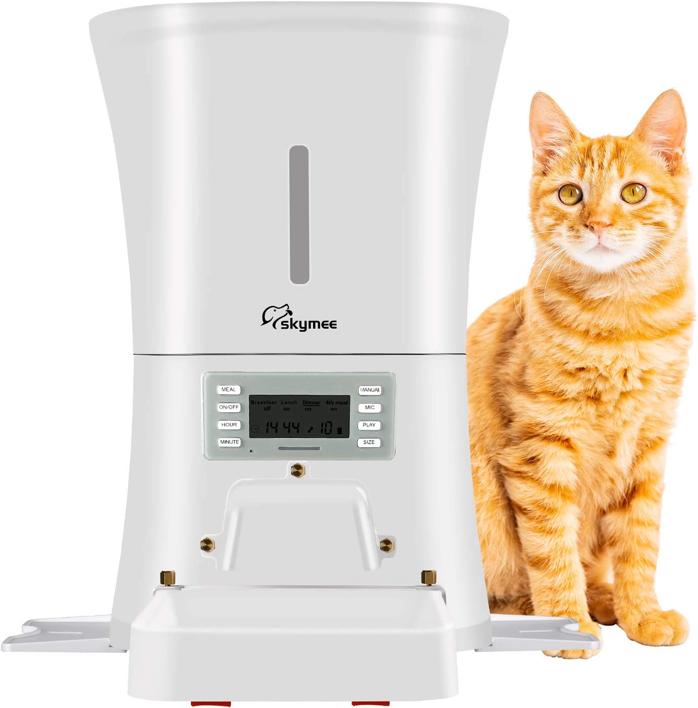 SKYMEE 8L Timer Automatic Pet Feeder Food Dispenser for Cats & Dogs – Portion Control, Voice Recording, Timer Programmable Up to 4 Meals Per Day