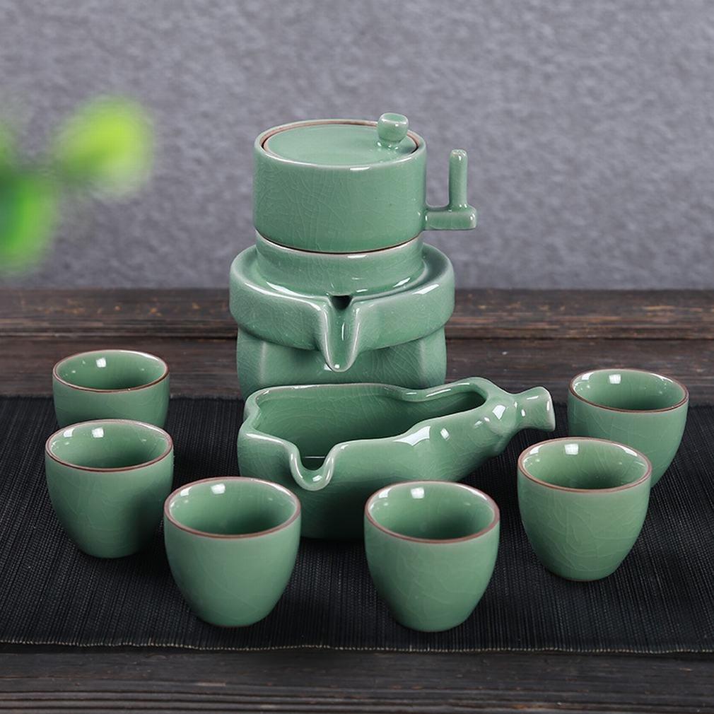 L Y Keramischer Kung Fu Anzug des Halbautomatischen Teesatzes Anti-Heiße Retro- Kreative Steinmühle