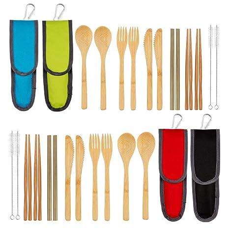 Amazon.com: Juego de 4 cubiertos de bambú | Juego de ...