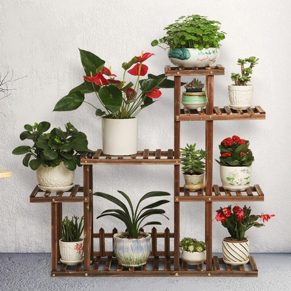 CJC Giardinaggio Scaffali porta piante Fiore cremagliera Legna Multi-Tier Scala Display Giardino All'aperto Backyard Difficile Stabile Struttura (colore   T2)
