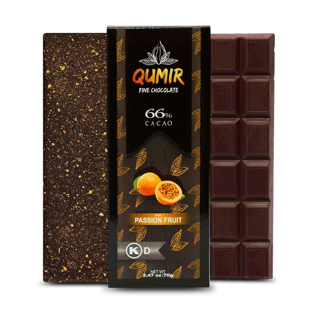 Dark Chocolate Bars by QUMIR | 12 PACK | with Passion Fruit | Amazonian Chocolate | Organic Ingredients, Vegan | 2.47oz each