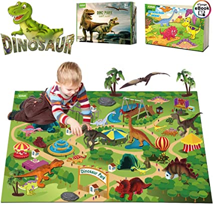 EIAIA Dinosaur Toys Activity Play Mat - 9 Realistic Dinosaur Figures Playset to Create a Dino World, Preschool Educational Toy for Age 3 4 5 6 Year ...
