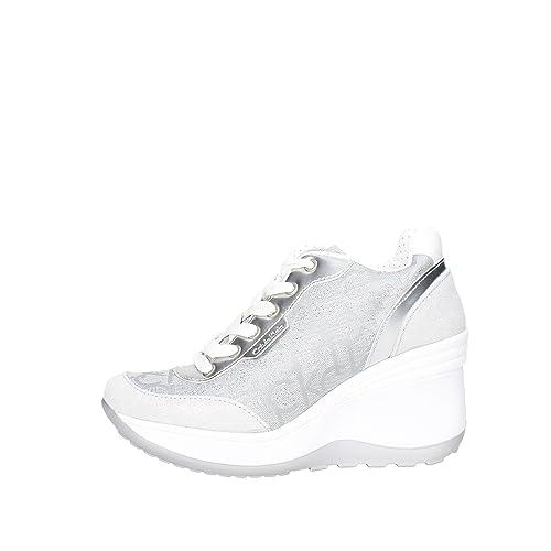 e86242cac2a478 Sneakers Jamie RE9695 Argento Sneakers Scarpe Donna Casual Sportive Zeppa:  Amazon.it: Scarpe e borse