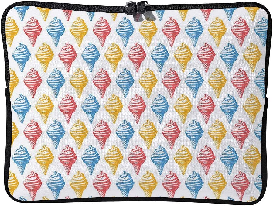 Ice Cream Cones Fifties Time Colored Laptop Sleeve Bag Water-Resistant Protective Case Bag Compatible with Any Notebook AM014136 13 inch//13.3 inch C COABALLA Laptop Bag Food