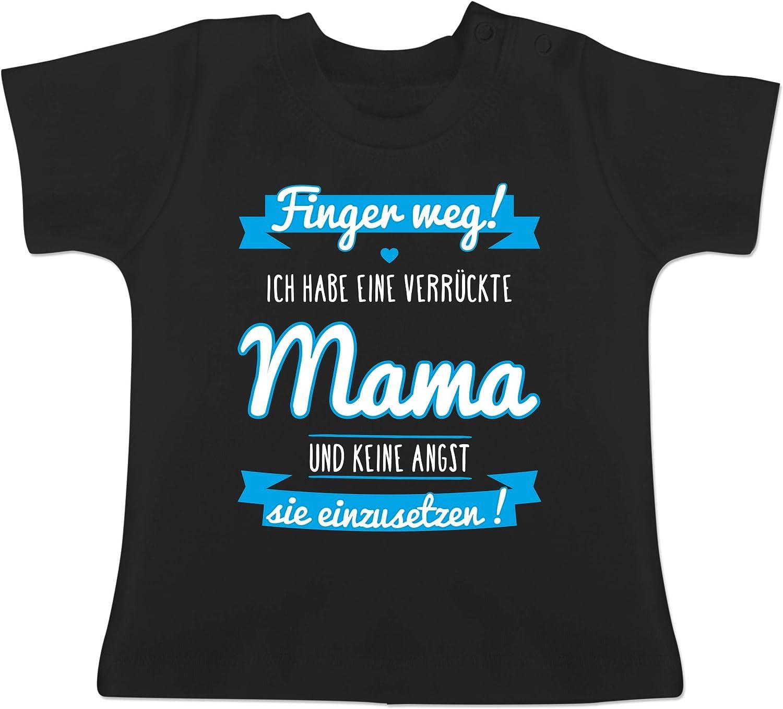 Baby T-Shirt Kurzarm ich Habe eine verr/ückte Mama blau Spr/üche Baby