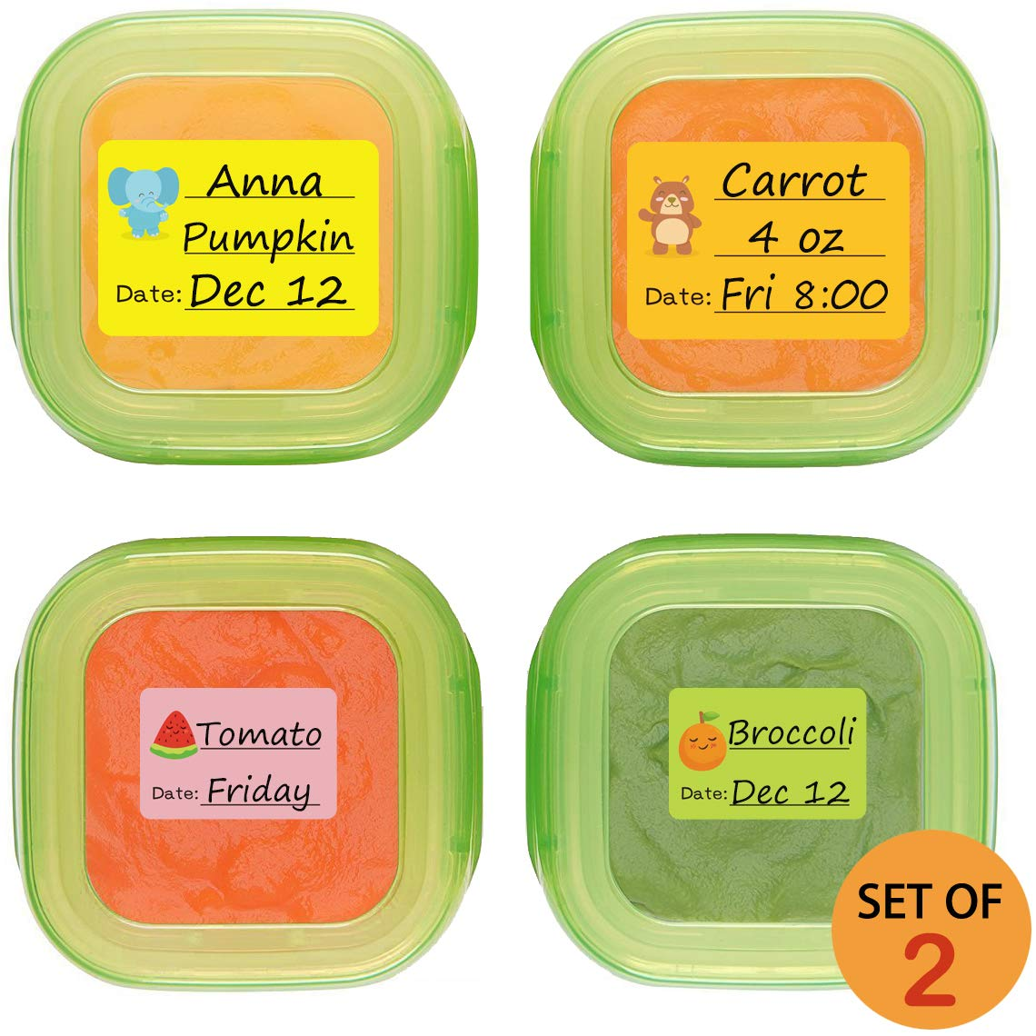 Baby Date Labels, Removable Write-On Labels for Baby Bottle, Food Storage Container, Freezer Tray & Reusable Pouch, Great for Daycare, Pack of 180