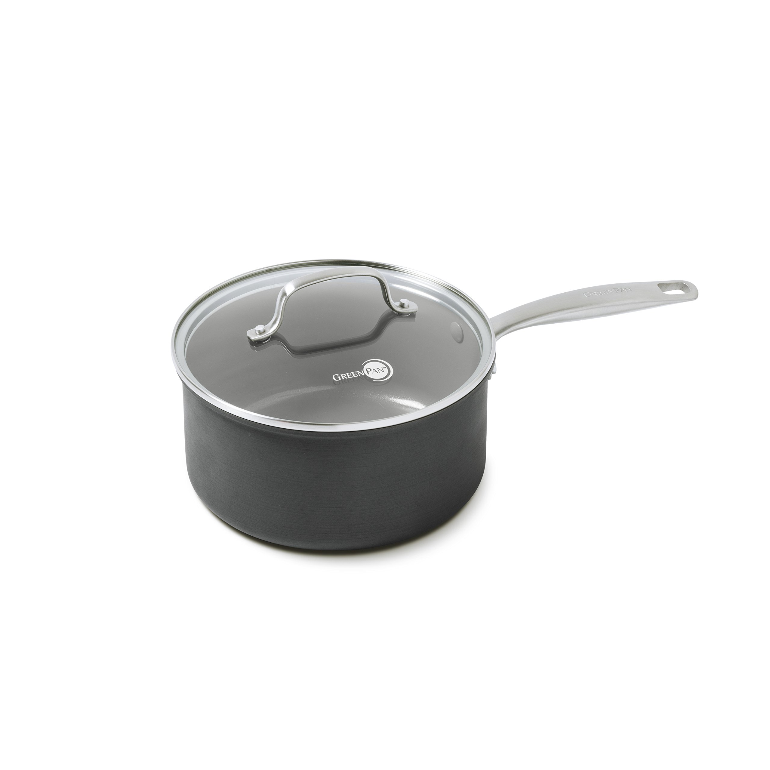 GreenPan Chatham Ceramic Non-Stick Covered Saucepan, 3 quart, Grey