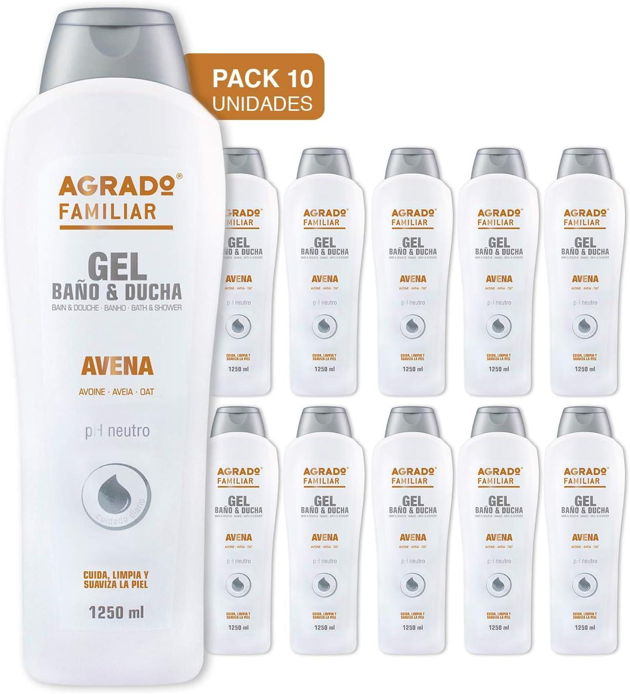 Agrado - Gel Baño y Ducha Avena 1250 ml - Pack de 10 unidades: Amazon.es: Belleza