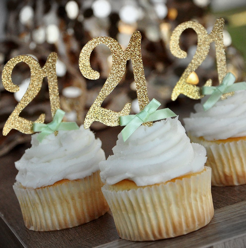 21st Birthday Cupcake Toppers 12CT. 21st Birthday Decoration.