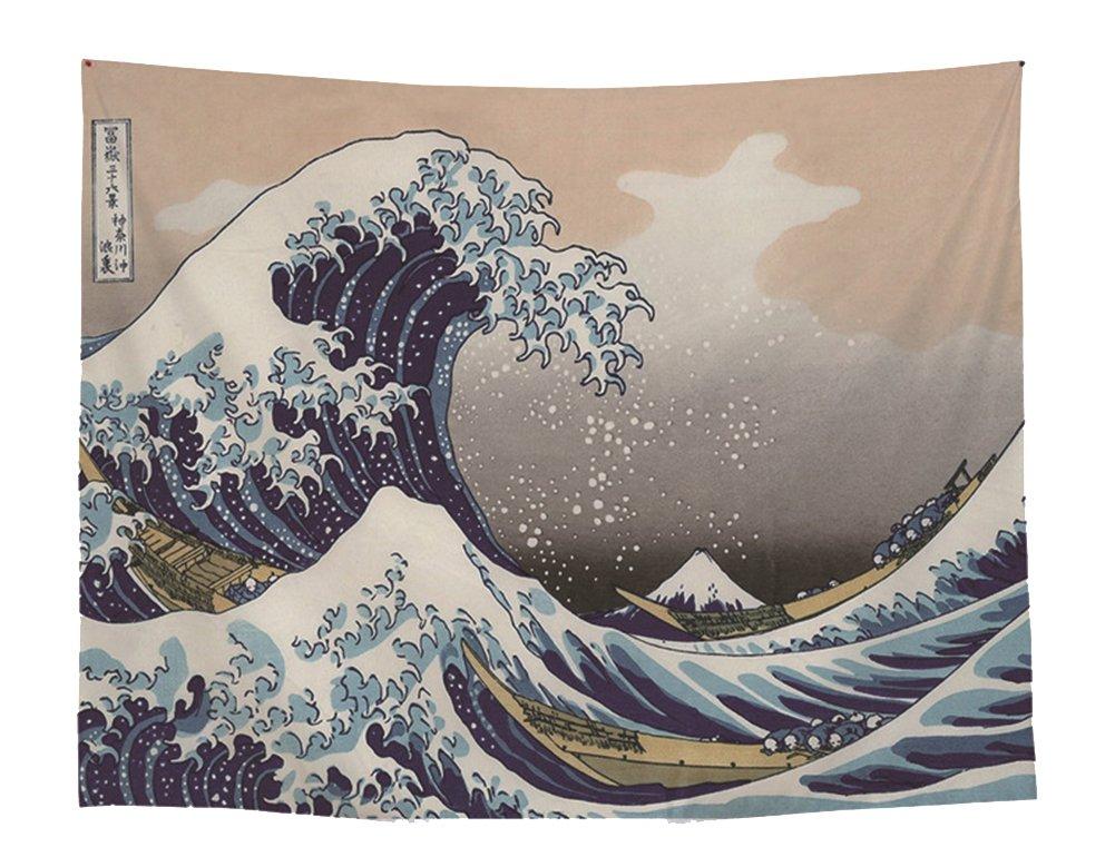 Mer onde Peinture murale Tapis Japonais Style Kanagawa Grande Vague D/écoration Murale Tapisserie Tenture Plage jeter wohnheim D/écoration Nappe Rideau 59*51in Mehrfarbig
