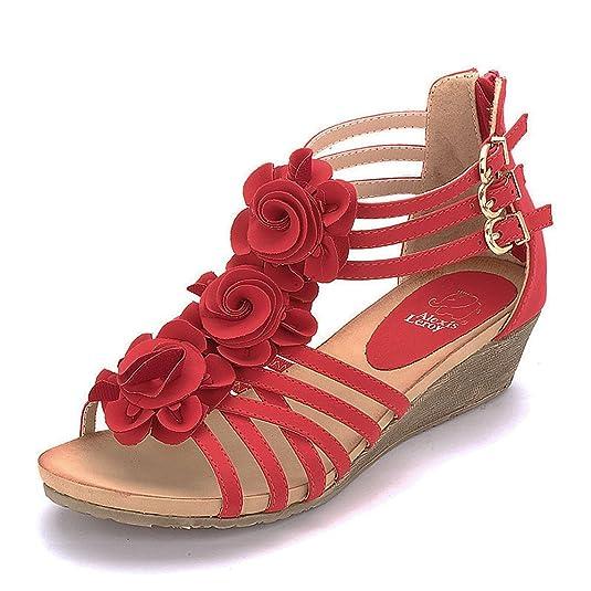 eefe68b8813bdf WEDDINGS MAGAZINE fast delivery 36e72 afb89  Amazon.com Alexis Leroy New  Arrival Women Fashion Summer Wedge Heel T-straps Buckle ...