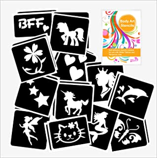 7 x fairy mermaid /& unicorn theme face painting stencils reusable many times girls face painting tools