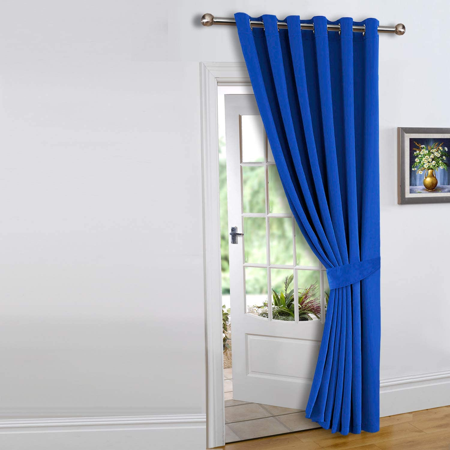 Imperial Rooms Single Door Curtain Thermal Insulated Eyelet Blue Blackout Curtains (66 x 84 (167x213cm) 66x84 (167x213cm / 1 Piece) Blue - Eyelet
