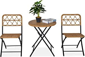 Outsunny 3 PCS Rattan Wicker Bistro Set with Easy Folding, Hand Woven Rattan Coffee Table and Chairs for Outdoor Lawn, Pool, Balcony & Garden, Natural