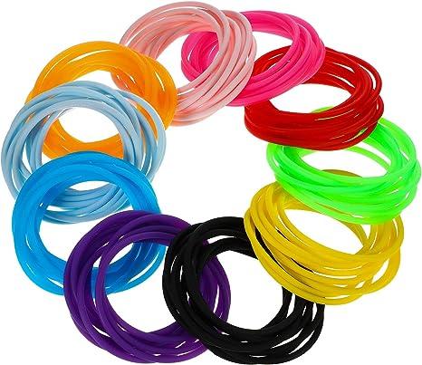 100 Piezas Hotop Pulseras de Silicona de Colores Lazo de Pelo para Ni/ñas Mujeres Estilo B
