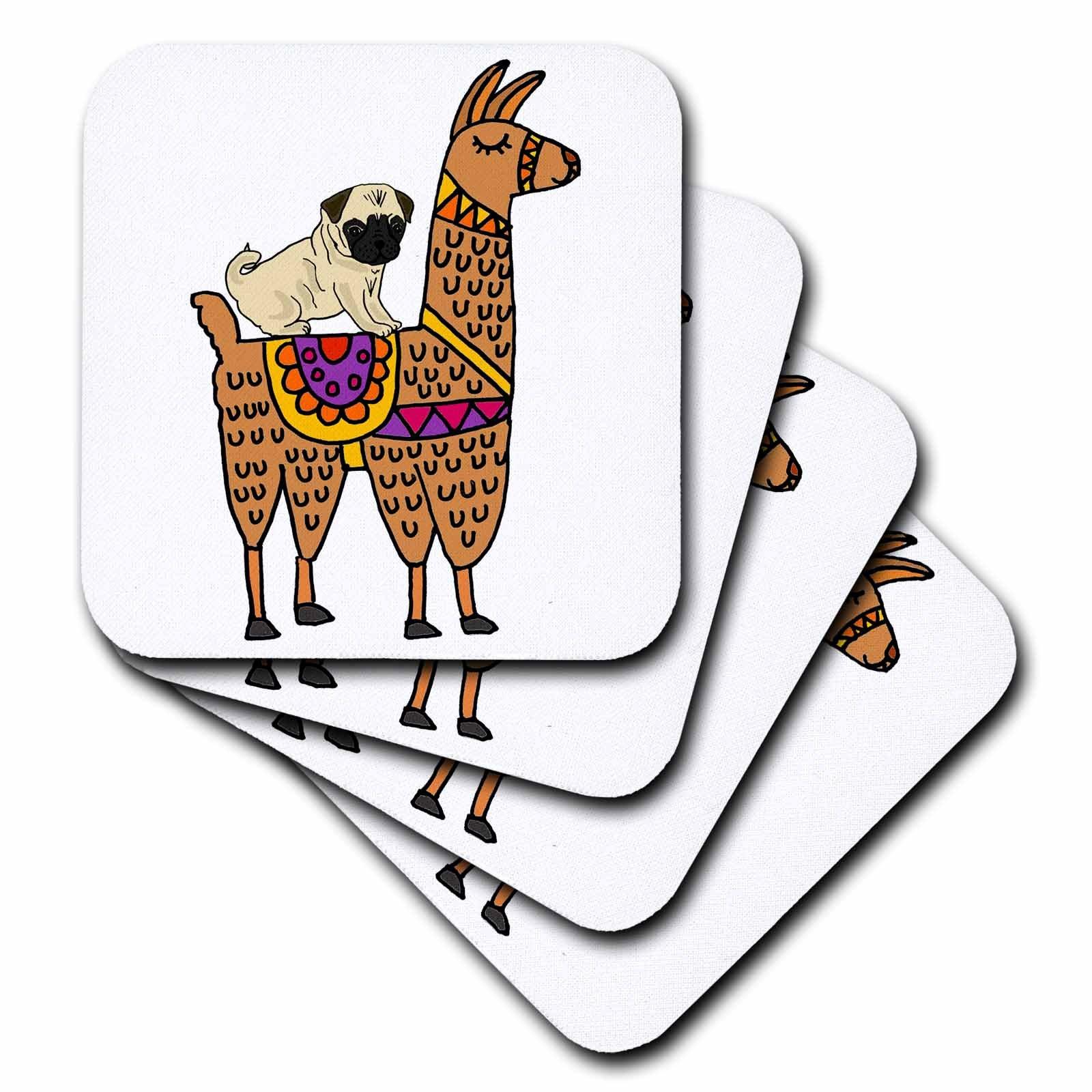 3dRose All Smiles Art Animals - Cool Humorous Pug Dog Riding llama Cartoon - set of 4 Ceramic Tile Coasters (cst_270099_3)