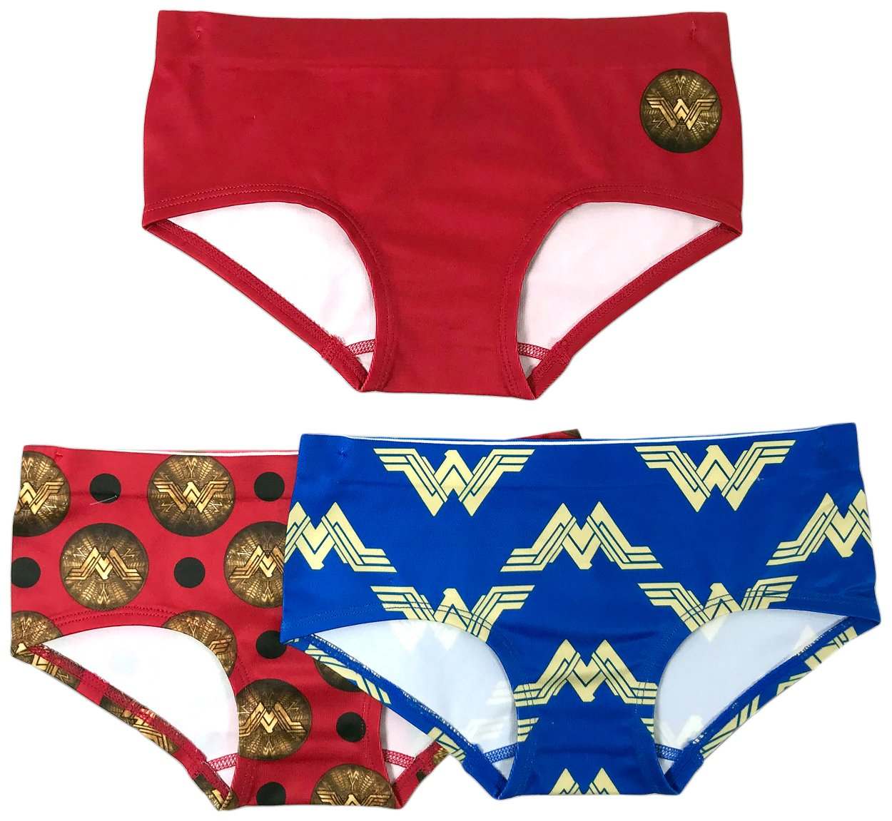 DC Comics Girls' 3-Pack Wonder Woman Seamless Hipster Underwear