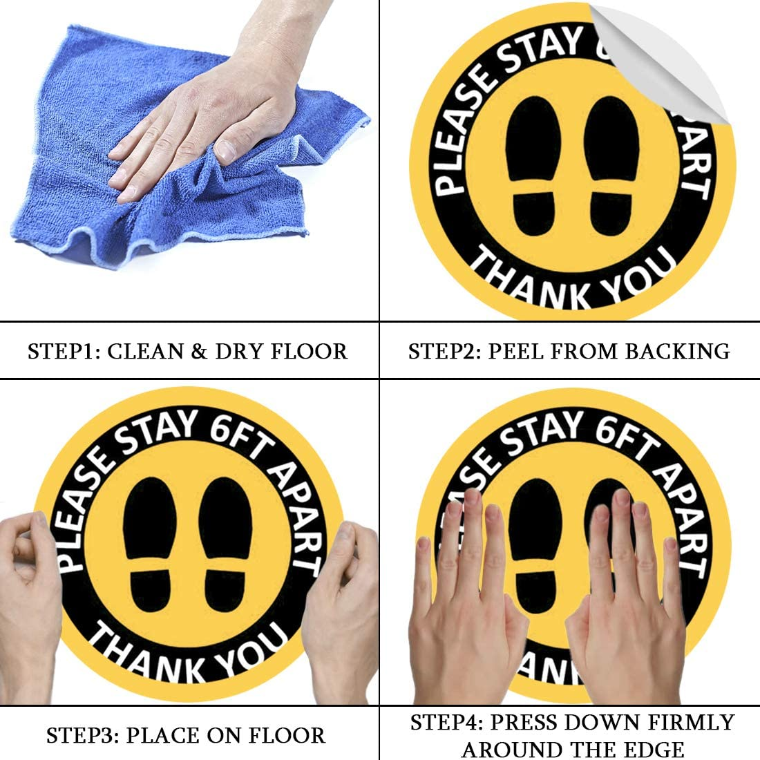 Social Distancing Floor Decals Waterproof Adhesive Anti-Slip Lamination Easy to Clean 10 Pack Safety Floor Signs Please Keep 6 Feet Apart Blue, 12 Inch 12 Round Vinyl Removable Stickers
