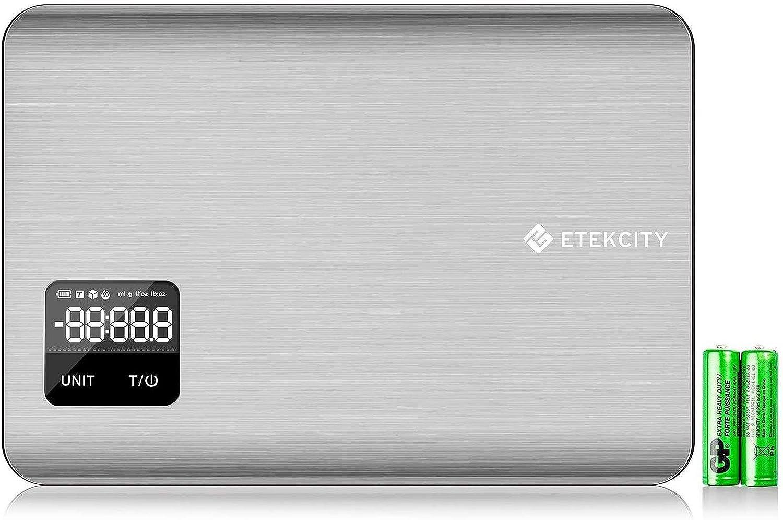 ETEKCITY EK7017 Báscula Digital para Cocina con Pantalla Táctil, Balanza de Alimentos Multifuncional, 5 kg / 11 lbs, Acero Inoxidable de Grado Alimenticio 304, Plata (Baterías Incluidas)