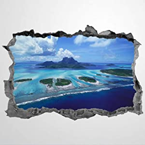 3D PVC Wall Stickers & Murals,Great Barrier Reef Landmarks Coral Reef Australia Art Wall Decal,Removable Home Decor Murals Poster for Bedroom, Living Room,Nursery Indoor.