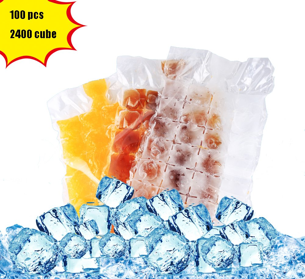 Bettli Disposable ice Cube Bag, Keep Food Fresh Outdoors, Convenient and Healthy, Easy Release, No Spill Ice Cube, Stackable, Compact, Odor Free Ice Cube-100 Pieces