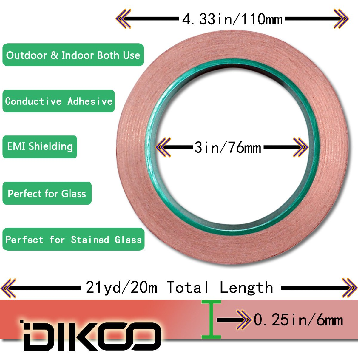 Copper Foil Tape,4Pcs DIKOO Double-Sided Conductive Adhesive (1/4inch X 21.8yards) for EMI Shielding,Slug Repellent,Electrical Repairs,Stained Glass,Art Work,Soldering,Grounding Paper Circuits,Crafts by DIKOO (Image #5)