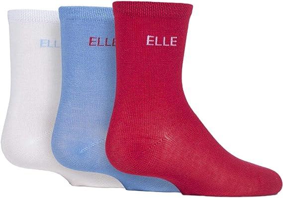 Girls 3 Pair Young Elle Plain Bamboo Socks