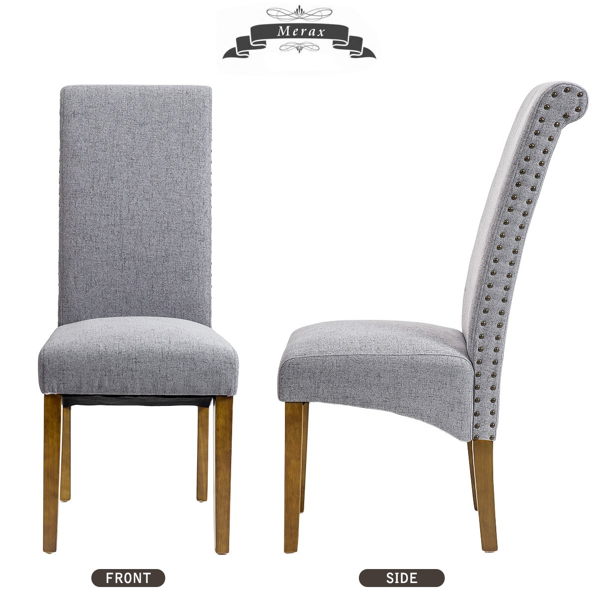 Merax Dining Chairs Set of 2 Fabric Padded Side Chair with Solid Wood Legs, Nailed Trim(Grey) by Merax (Image #3)