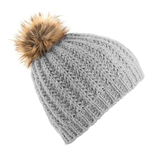 3bf7b4c622a Beechfield Ladies Womens Faux Fur Pom Pom Winter Beanie (One Size) (Glacier