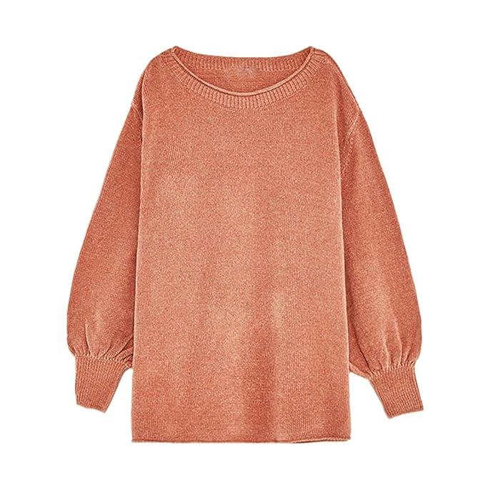 091afaa54f7d91 YiLianDa Donna Maglione Maglia Pullover Invernale Elegante Ufficio Cotone  Manica Lunga Arancione: Amazon.it: Abbigliamento