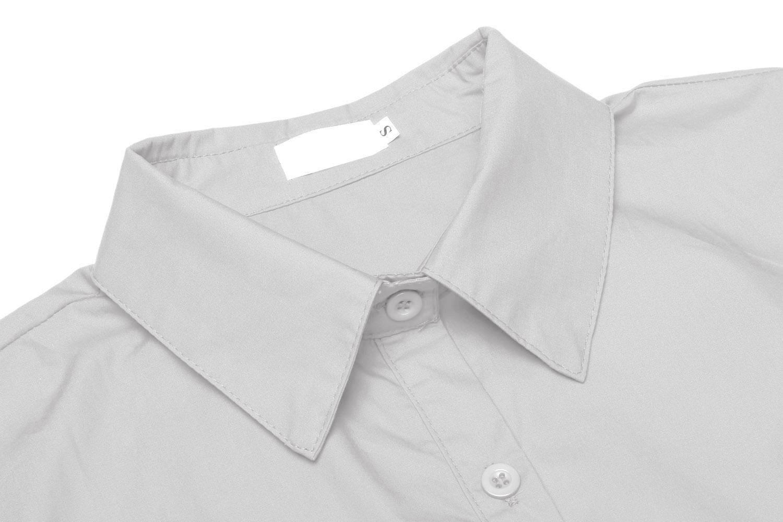 Unibelle dam blus skräddarsydd skjortblus 3/4 ärmar blusedamen arbetshemd basemd affärshemd GRÅ