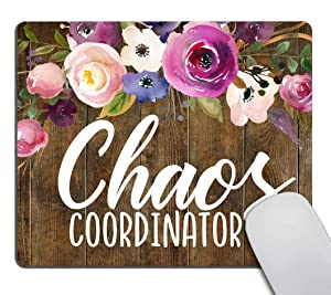 Smooffly Office Desk Accessories, Chaos Coordinator Quotes Vintage Watercolor Floral Mouse Pad, Office Decor for Women, Office Gifts, Desk Decor