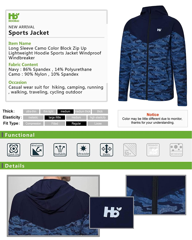 8be1f2258 HOOBAI Camo Color Block Zip Up Lightweight Hoodie Sports Jacket Long Sleeve Windproof  Windbreaker Men Jeans