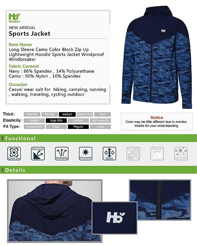 a72e71c2b HOOBAI Camo Color Block Zip Up Lightweight Hoodie Sports Jacket Long ...