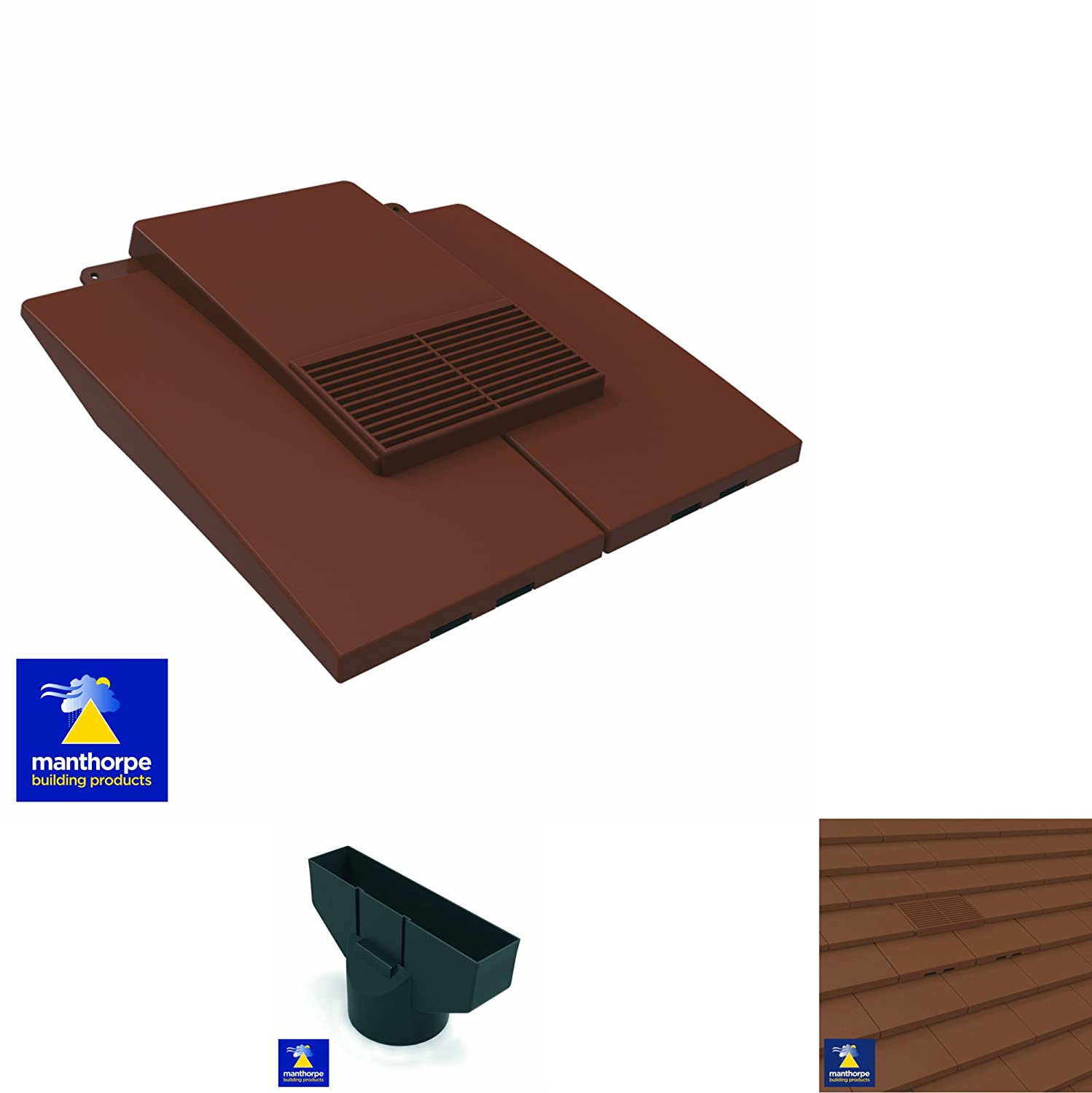 Dark Brown Plain In Line Roof Tile Vent & Pipe Adaptor / for concrete and clay Tiles Manthorpe