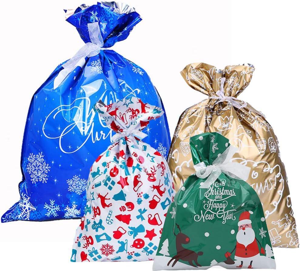 Bolsa De Dulces De Copo De Nieve, Bolsas navideñas con cordón Bolsa De La Suerte De Año Nuevo, Bolsillo del Arnés De Santa para Regalos Grandes, Juguetes para niños, Decoraciones (Christmas Bag)