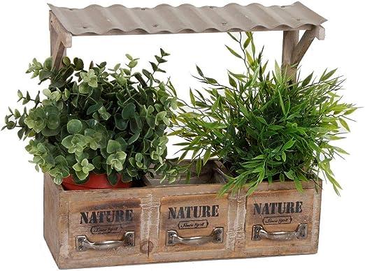 Spetebo – Jardinera de madera con 3 compartimentos – Jardinera decorativa con techo – Estantería retro para macetas, macetas para alféizar de ventanas, etc.: Amazon.es: Jardín