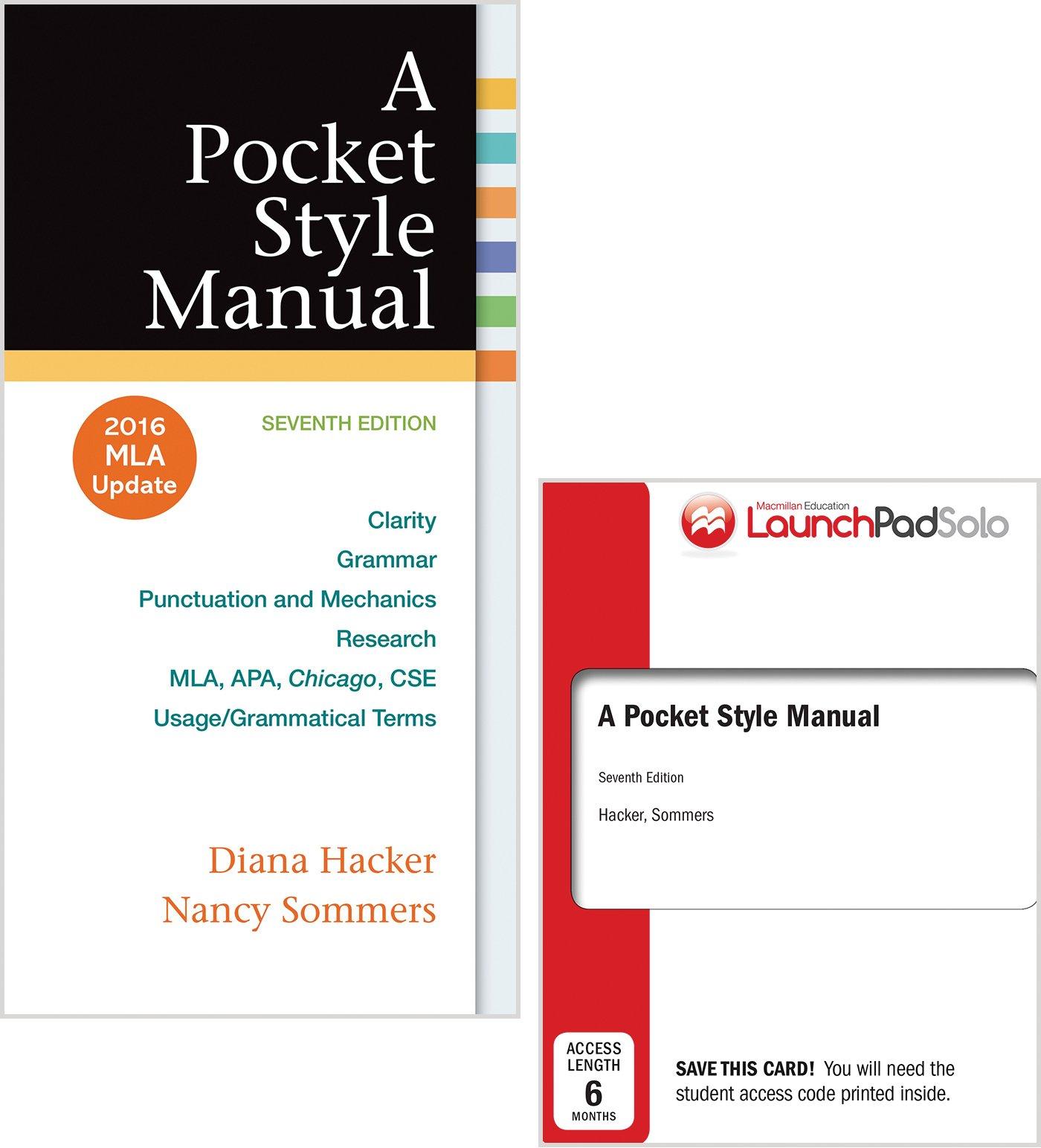 Pocket Style Manual with 2016 MLA Update: University Diana Hacker,  University Nancy Sommers: 9781319085469: Books - Amazon.ca