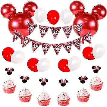 30c0a35acb51d JOYMEMO Décorations d'anniversaire Minnie Mouse Rouge et Noir pour Filles,  Bannière Joyeux Anniversaire et Minnie Cupcake Toppers pour Fête ...
