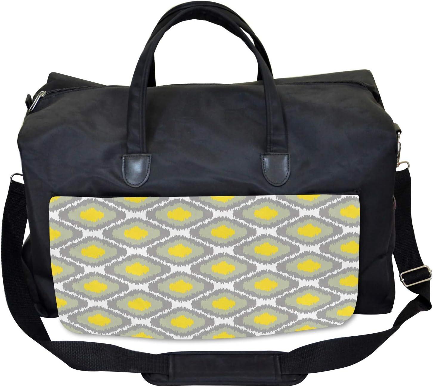 Ambesonne Ikat Gym Bag Old Form Shapes Bundles Large Weekender Carry-on