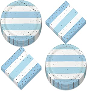 Blue and Silver Party Supplies - Blue Striped Silver Confetti Dot Metallic Paper Dessert Plates and Beverage Napkins (Serves 16)