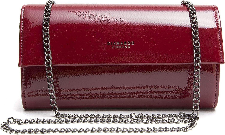 Borsa donna borsetta pochette ec pelle lucida  vernice tracolla catena dyh1541-1