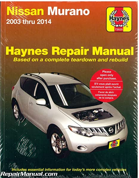 amazon com h72025 nissan murano 2003 2014 suv haynes repair service rh amazon com 2003 nissan murano service manual download 2003 nissan murano owners manual pdf