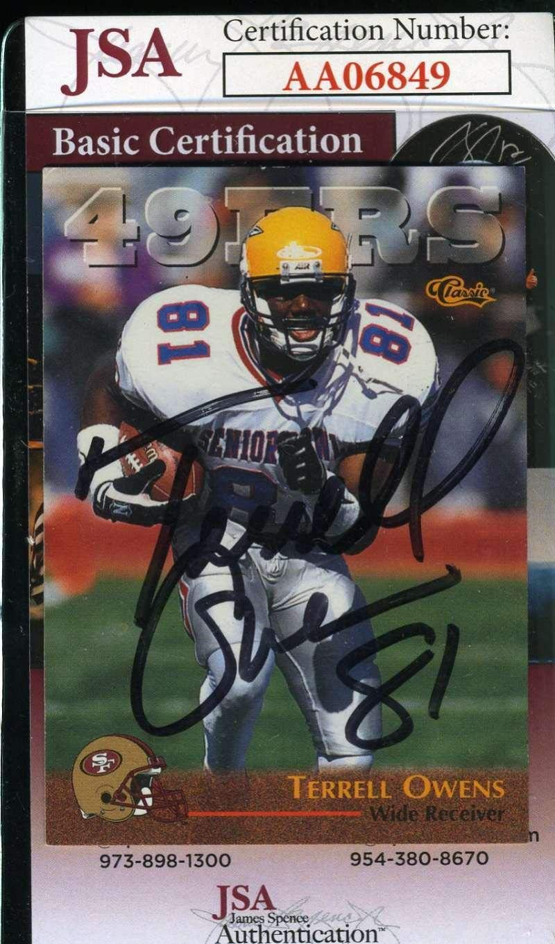 TERRELL OWENS 1996 Classic Rookie Coa Autograph Authentic Hand Signed - JSA  Certified - Football Slabbed Autographed Rookie Cards at Amazon s Sports ... 422a76e02