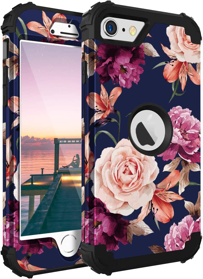 Casewind iPhone SE 2020 Case, iPhone SE 2020 Case Floral 3 in 1 Heavy Duty Protection Hard PC Soft Silicone Rugged Bumper Anti-Scratch Shockproof Hybrid Protective Case for iPhone SE 2020,Navy Blue
