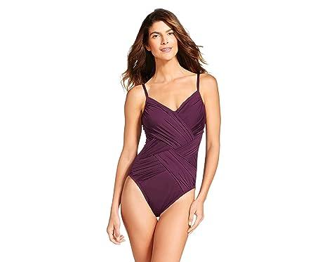 9c1711f7e42ec Merona Women's Draped One Piece Swimsuit (X-Large, Plum) at Amazon ...