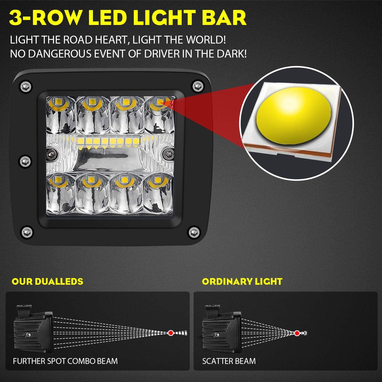 SUZCO 60W Triple-Row Offroad Led Work Light Bar Driving Wiring Harness Switch KIT//COMBO Spot//Flood//Combo Lightbar Waterproof 12V 24V with Mounting Bracket Tube Clamp 1//1.5//1.75//2 For 4x4 ATV UTV