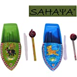 SAHAYA Set of 2 Attractive Animal Print Fun Steam Powered Tin Toy Boat Nav Pop Put Putt Candle Powered fuel flame with free dropper