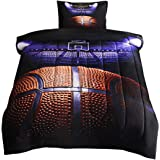 JQinHome Twin Basketball Court Comforter Sets Blanket, 3D Sports Themed Bedding, All-Season Reversible Quilted Duvet…