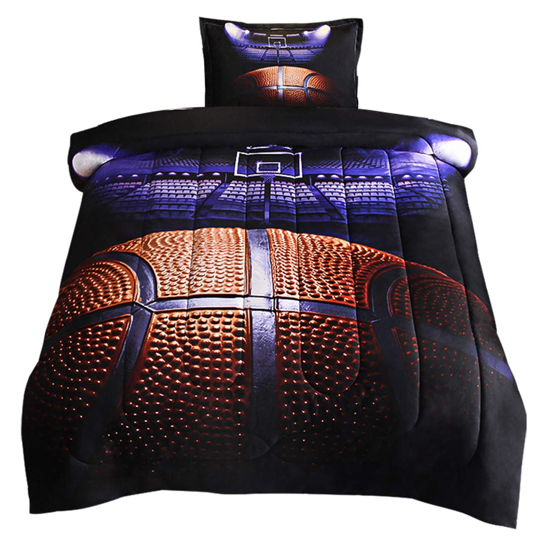 JQinHome Twin Basketball Court Comforter Sets Blanket, 3D Sports Themed Bedding, All-Season Reversible Quilted Duvet, for Children Boy Girl Teen Kids - Includes 1 Comforter, 1 Pillow Sham